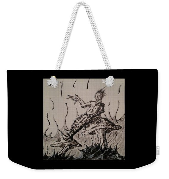 Weekender Tote Bag featuring the painting Mushroom Man by Aaron Bombalicki