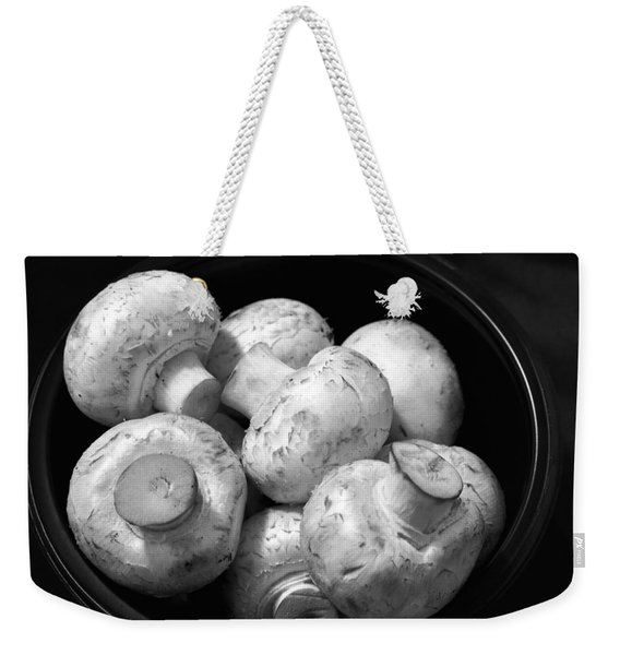 Mushrooms In A Bowl Black And White Weekender Tote Bag