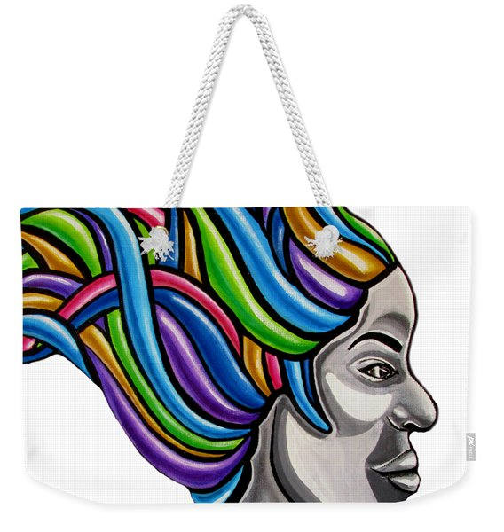 Colorful Abstract Black Woman Face Hair Painting Artwork - African Goddess Weekender Tote Bag