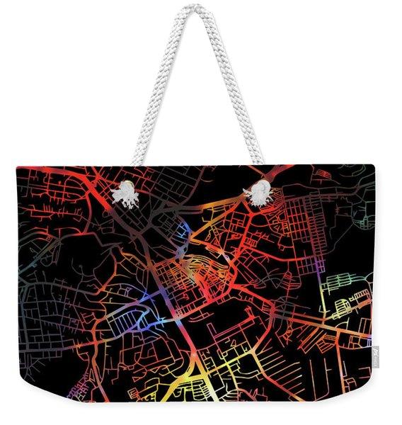 Nairobi Kenya Africa City Watercolor Street Map Dark Mode Weekender Tote Bag