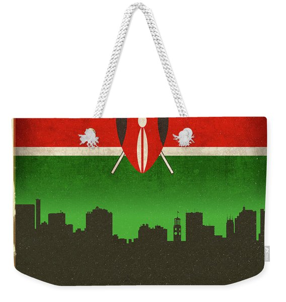 Nairobi Kenya City Skyline Flag Weekender Tote Bag
