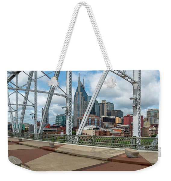 Nashville Cityscape From The Bridge Weekender Tote Bag