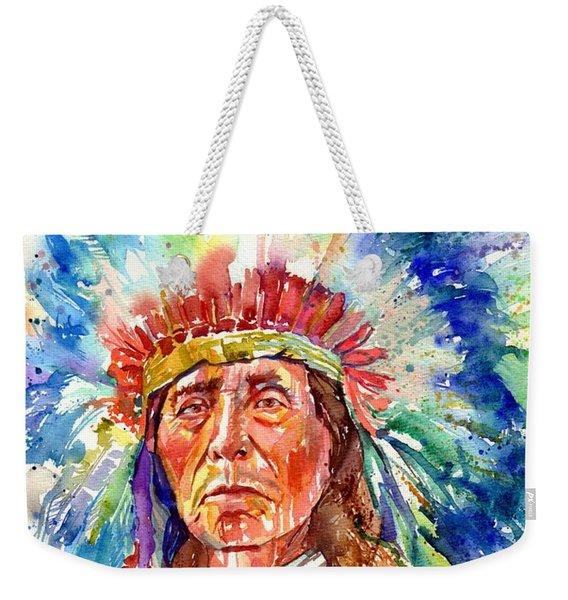Native American Chief Weekender Tote Bag
