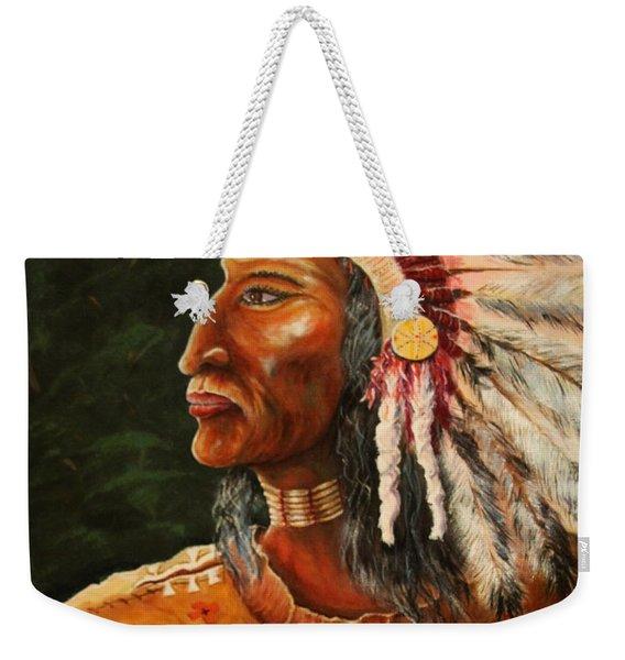 Native American Indian Chief Weekender Tote Bag