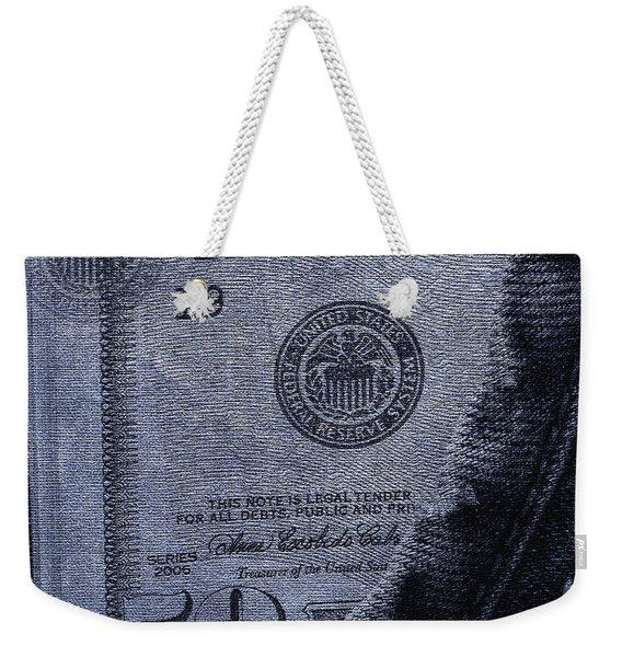 Navy Blue Denim And Money Weekender Tote Bag