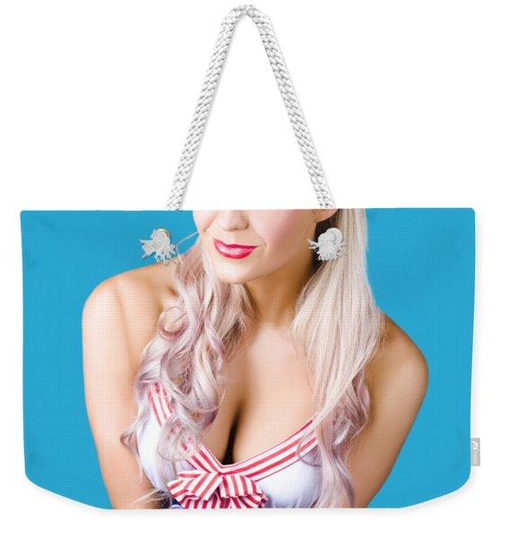 Navy Pinup Woman Weekender Tote Bag