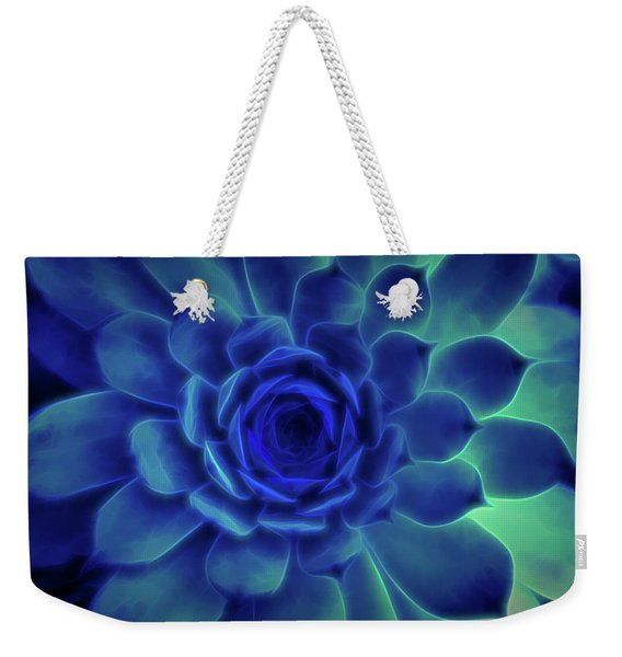 Weekender Tote Bag featuring the digital art Neon Blue Sempervivum by Scott Lyons