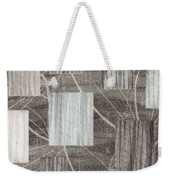 Neutral Leaf Print Squares Cream Weekender Tote Bag