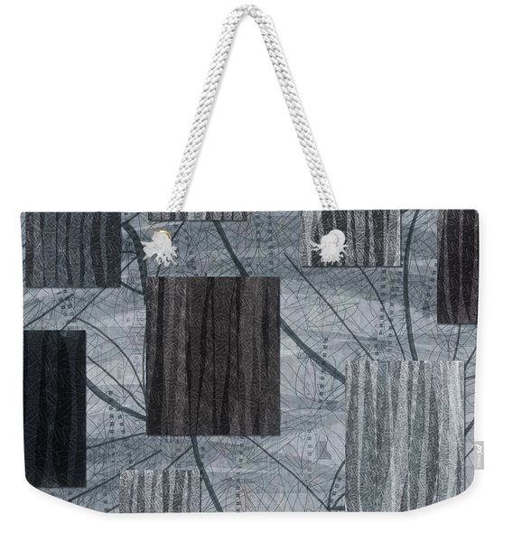 Neutral Toned Leaf Square Print Weekender Tote Bag