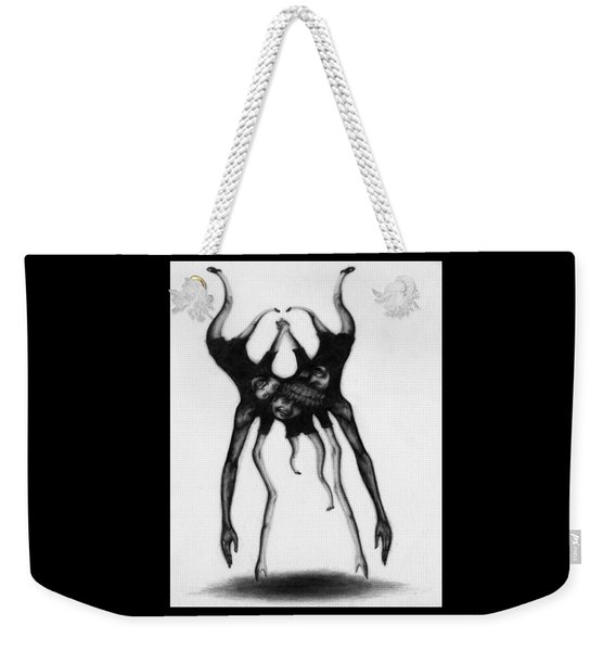 Weekender Tote Bag featuring the drawing Never Letting Go... - Artwork by Ryan Nieves
