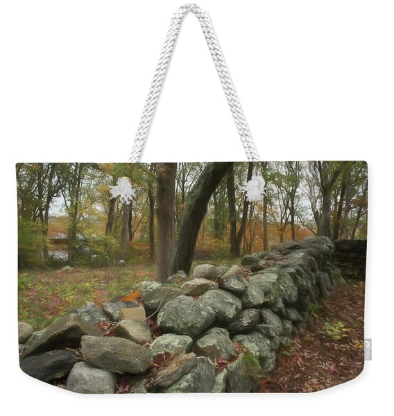 Weekender Tote Bag featuring the photograph New England Stone Wall 1 by Nancy De Flon