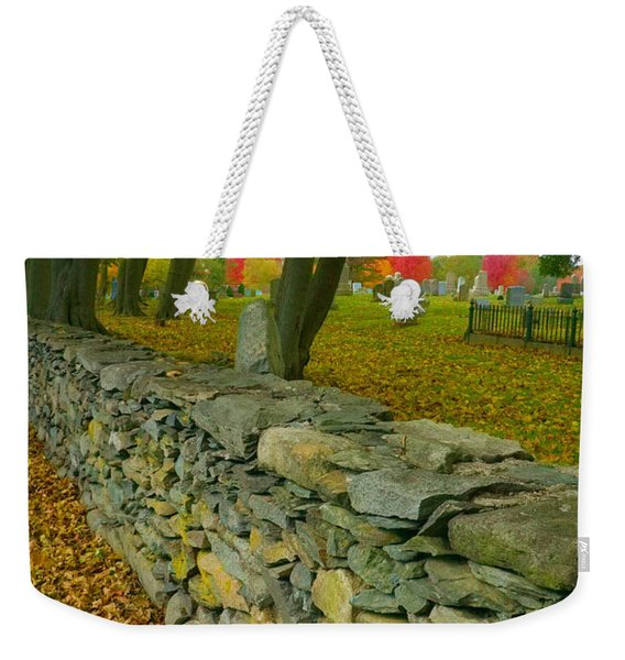 Weekender Tote Bag featuring the photograph New England Stone Wall 2 by Nancy De Flon
