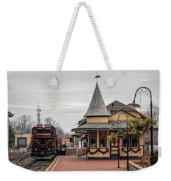 New Hope Train Station At Christmas Weekender Tote Bag