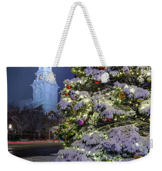 Weekender Tote Bag featuring the photograph New Snow For Christmas by Jeff Sinon
