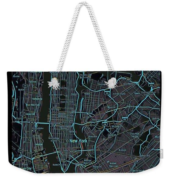 New York City Map Black Edition Weekender Tote Bag