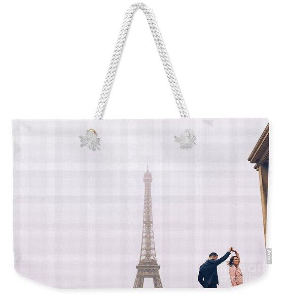 Newly-wed Couple On Their Honeymoon In Paris, Loving Having A Date Near The Eiffel Tower Weekender Tote Bag