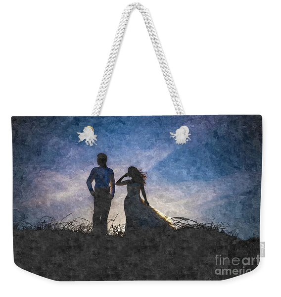 Newlywed Couple After Their Wedding At Sunset, Digital Art Oil P Weekender Tote Bag