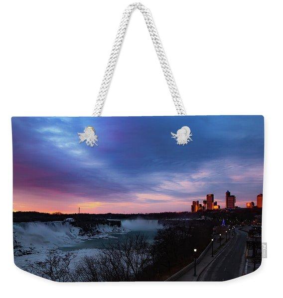 Niagara Falls At Sunrise Weekender Tote Bag