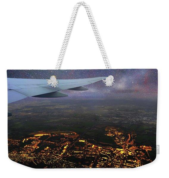 Night Flight Over City Lights Weekender Tote Bag