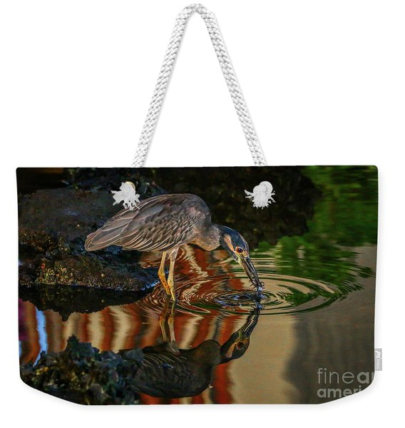 Weekender Tote Bag featuring the photograph Night Heron Catch by Tom Claud