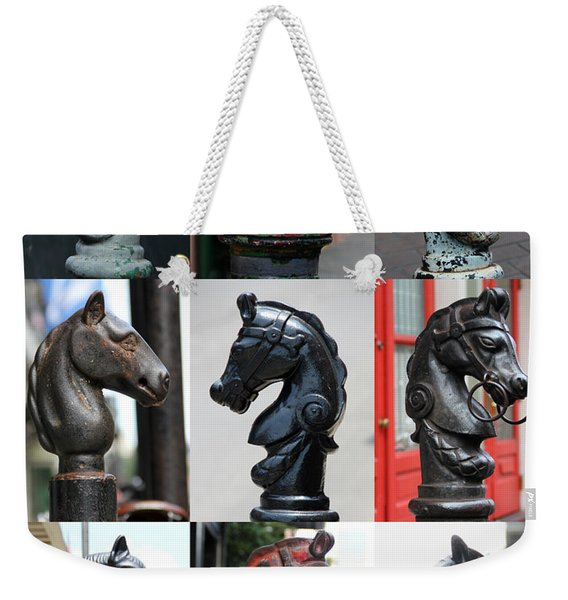 Nine Horse Head Hitching Posts Weekender Tote Bag
