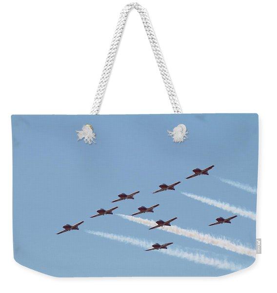 Nine Man Snowbird Formation Weekender Tote Bag