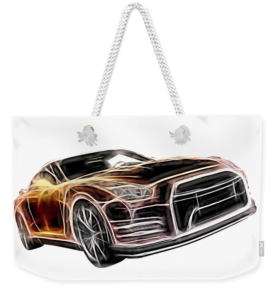 Nissan Gt-r Front Side Profile Digital Neon Weekender Tote Bag
