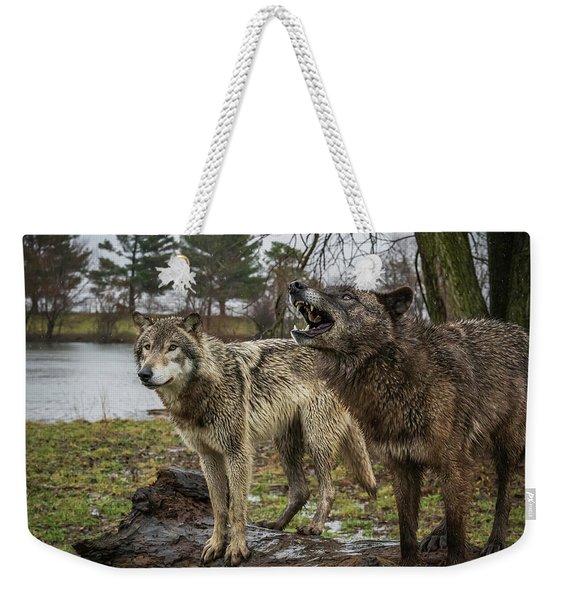 Noisy Wolf Weekender Tote Bag
