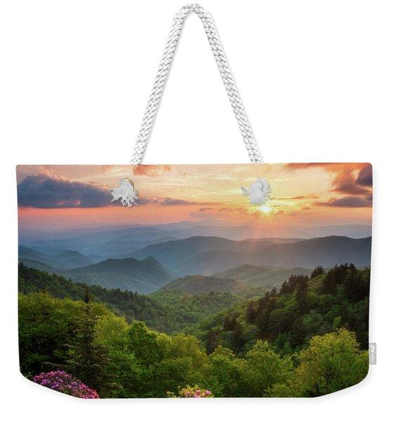 North Carolina Great Smoky Mountains Sunset Landscape Cherokee Nc Weekender Tote Bag
