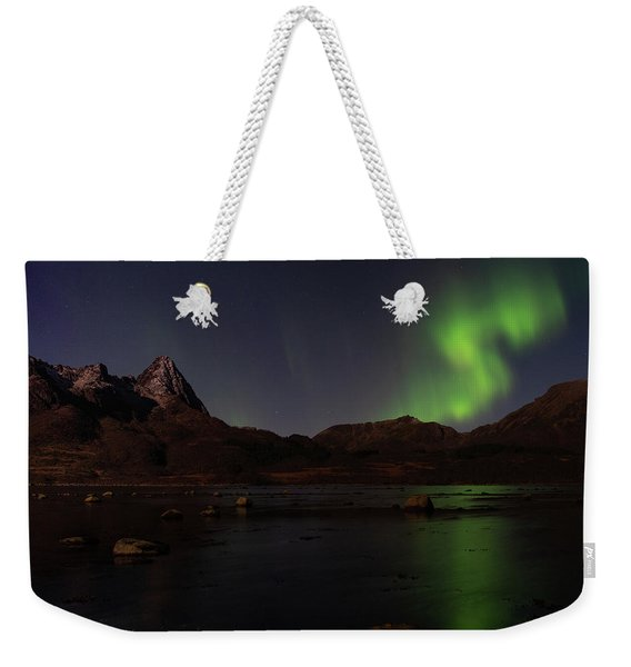 Northern Lights Aurora Borealis In Norway Weekender Tote Bag