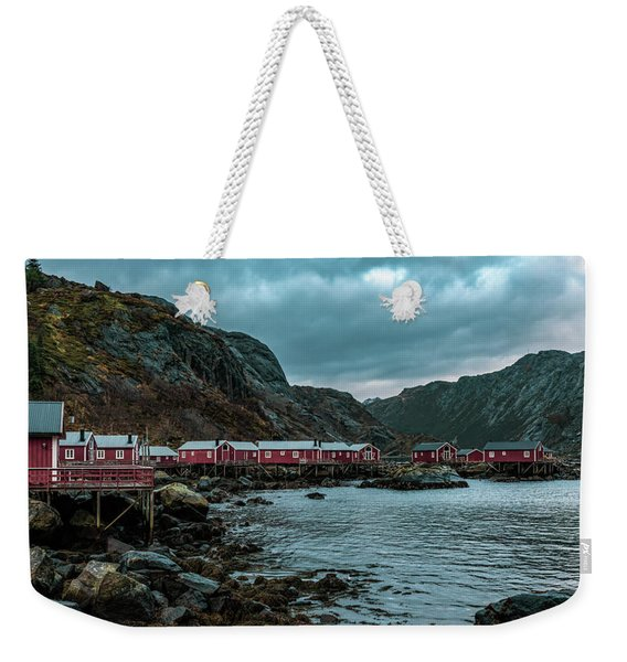 Norway Panoramic View Of Lofoten Islands In Norway With Sunset Scenic Weekender Tote Bag