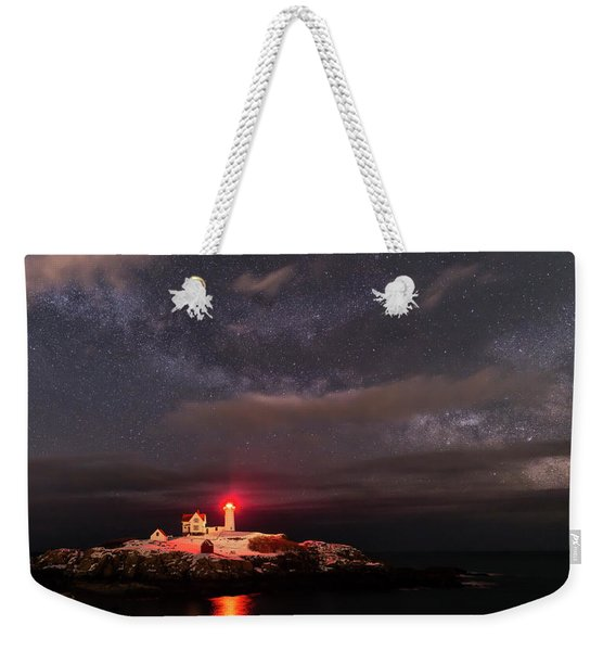 Nubble Light At Night Weekender Tote Bag