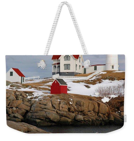 Nubble Light - Cape Neddick Lighthouse Seascape Landscape Rocky Coast Maine Weekender Tote Bag