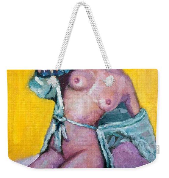 Nude Girl With Fan Weekender Tote Bag