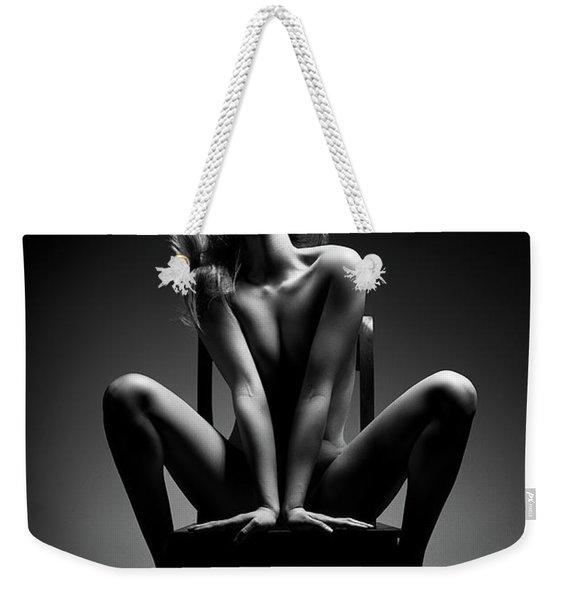 Nude Woman Sitting On Chair Weekender Tote Bag