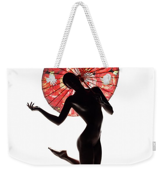 Nude Woman With Red Parasol Weekender Tote Bag
