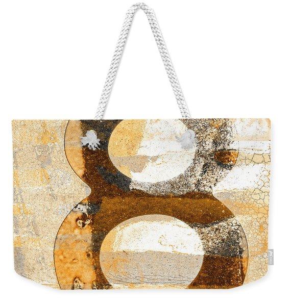 Number 8 In Sepia Brown Beige Weekender Tote Bag