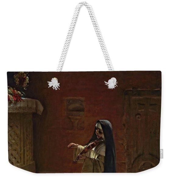 Nun Playing On A Violin Weekender Tote Bag