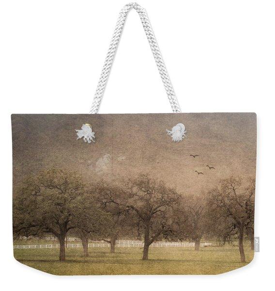 Oak Trees In Fog Weekender Tote Bag