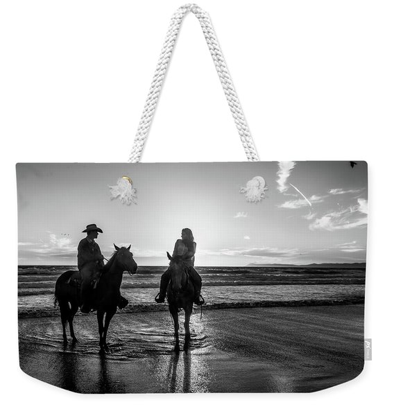 Ocean Sunset On Horseback Weekender Tote Bag