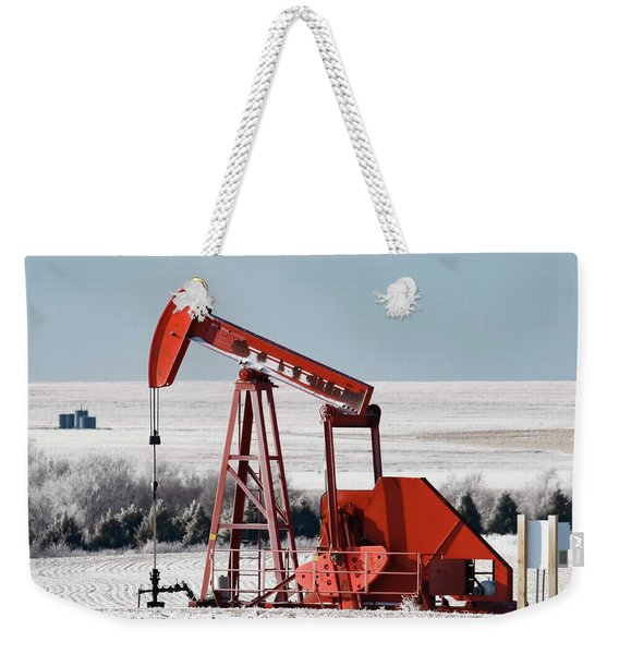 Weekender Tote Bag featuring the photograph Oil Pump And Frost 01 by Rob Graham