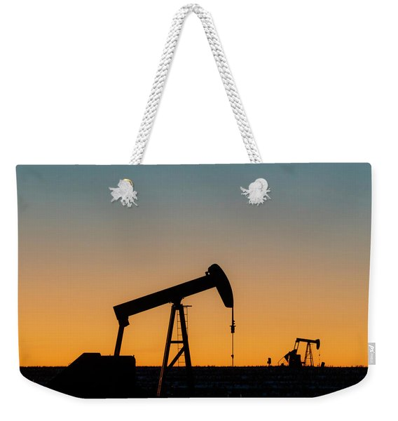 Weekender Tote Bag featuring the photograph Oil Pumps After Sunset 01 by Rob Graham