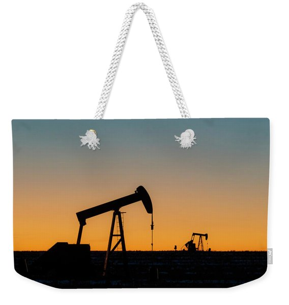 Weekender Tote Bag featuring the photograph Oil Pumps After Sunset 02 by Rob Graham