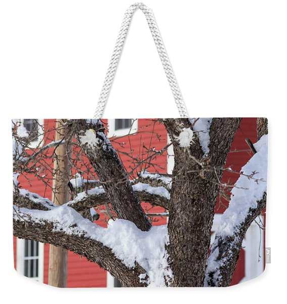 Old Apple Tree Red Barn Winter In New Hampshire Weekender Tote Bag