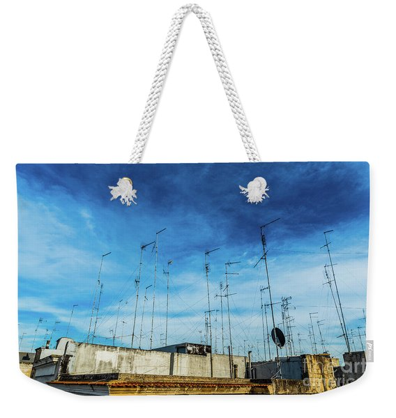 Old Buildings In The City Of Bari With Roofs Full Of Old Televis Weekender Tote Bag