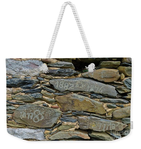 Old Schist Wall With Several Dates From 19th Century. Portugal Weekender Tote Bag