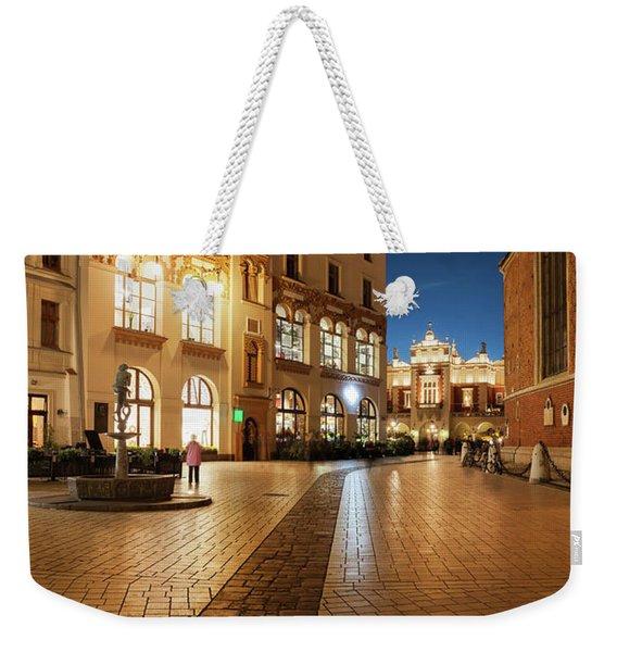 Old Town At Night In City Of Krakow Weekender Tote Bag