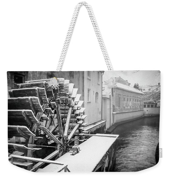 Old Water Wheel Certovka Canal Prague Black And White Weekender Tote Bag
