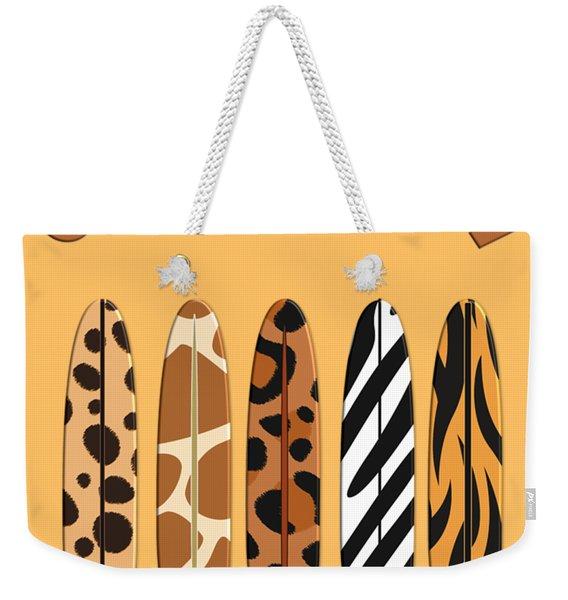 On Surfari Animal Print Surfboards  Weekender Tote Bag