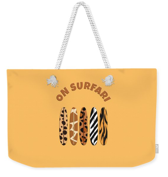 On Surfari Animal Print Surfboards  Weekender Tote Bag
